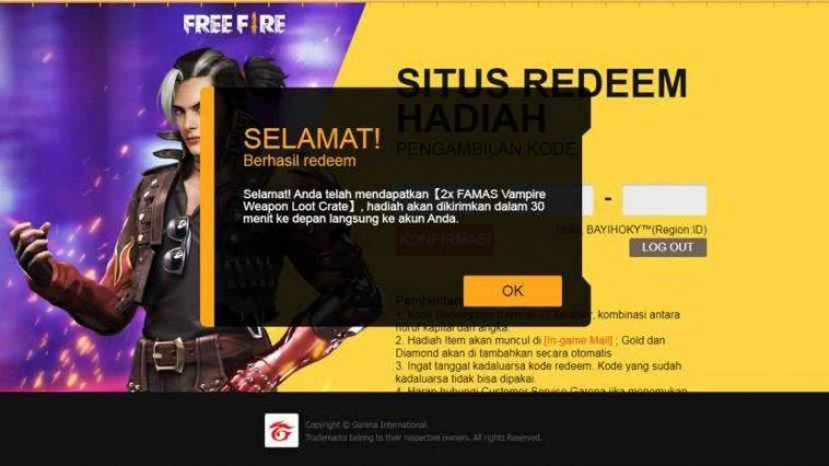 Kode Redeem FF 25 September 2020